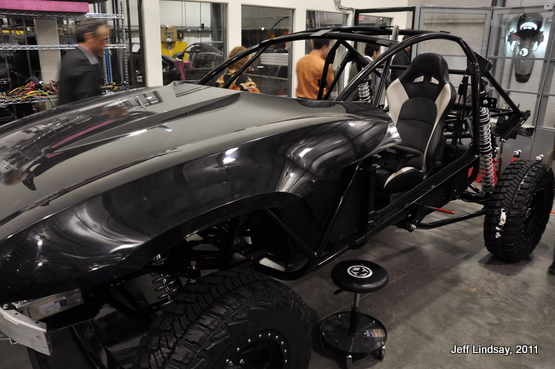 A portion of the body, before the custom vinyl wrap is added.