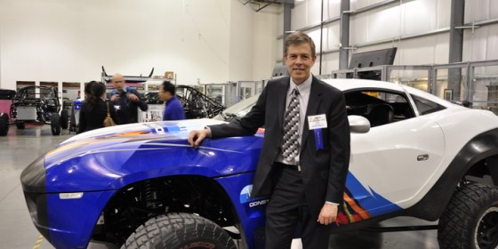 Jeff Lindsay in front of an early Rally Fighter from Local Motors
